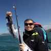 Gordon D'Arcy had reason to smile after reeling in this catch during the players' fishing trip close to where they are staying in Dunedin