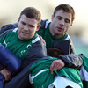 Backs Gordon D'Arcy and Tommy Bowe get stuck in during the pitch session for Declan Kidney's men on Wednesday morning