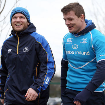 Leinster's Gordon D'Arcy and Brian O'Driscoll