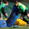 Gordon D'Arcy paired off with Mike Ross. The tighthead prop is back to full fitness after suffering 'severe calf cramp' against Wales