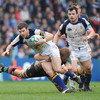 Gordon D'Arcy has Cian Healy in support as he is challenged by Harlequins flanker Chris Robshaw