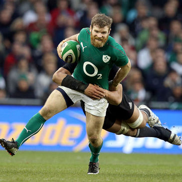 Gordon D'Arcy on the attack for Ireland