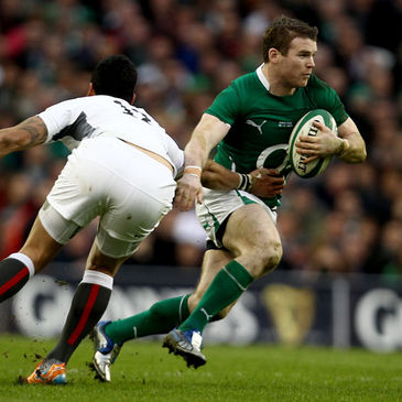 Ireland centre Gordon D'Arcy gets past England's Matt Banahan