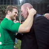 The IRFU's head of performance analysis Mervyn Murphy and Gordon D'Arcy celebrate Ireland's fourth and final victory of the World Cup pool stages in Dunedin