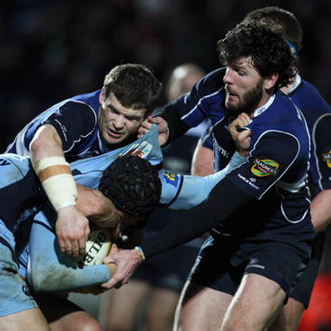 Gordon D'Arcy and Shane Horgan in action against Cardiff