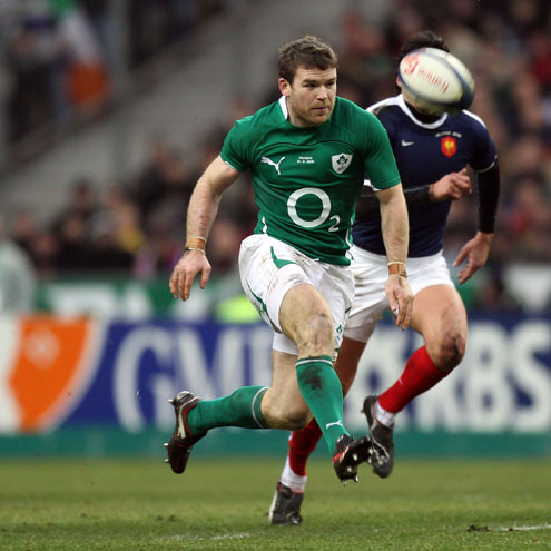 Gordon D'Arcy chips over the top against France