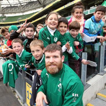 Gordon D'Arcy is pictured with some young Ireland fans