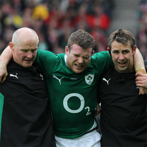 Gordon D'Arcy is helped off at Croke Park