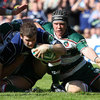 Leicester flanker Ben Woods gets in a crucial tackle as Gordon D'Arcy dives for the try-line
