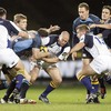 Glasgow centre Graeme Morrison gets a tackle in on Felipe Contepomi as the Argentinian tries to create an attack