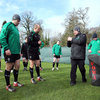 Scrum coach Greg Feek talks technique with Mike Ross and Rory Best as he takes the forwards for a session