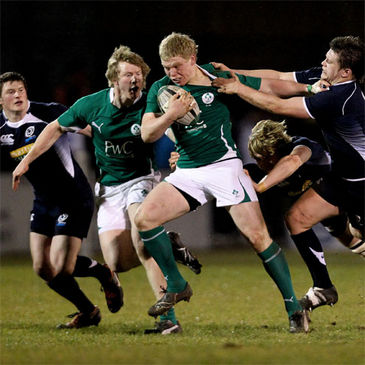 Eoin Griffin and Nevin Spence in action against the Scottish Under-20s