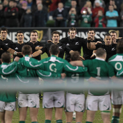 The Ireland players face New Zealand's haka