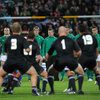 Brian O'Driscoll and his team-mates watch on as Piri Weepu leads the All Blacks through the Haka