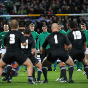 Ireland face the 'haka' before last June's Test at Yarrow Stadium