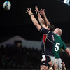 American lock Hayden Smith, who plays his club rugby for Saracens, is challenged for a lineout ball by Paul O'Connell