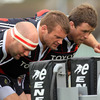 John Hayes, Denis Fogarty and Marcus Horan prepare to take on the scrum machine during Tuesday's training session