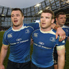 Cian Healy and Gordon D'Arcy congratulate each other after Leinster made it through to the Heineken Cup semi-finals for the third successive year