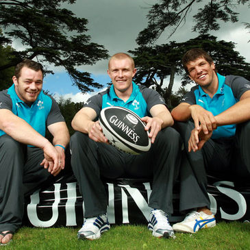 Ireland's Cian Healy, Keith Earls and Donncha O'Callaghan
