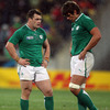 The sense of disappointment is obvious for forwards Cian Healy and Donncha O'Callaghan as Ireland's quarter-final challenge peters out in Wellington