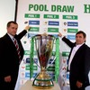 Munster Chief Executive Garrett Fitzgerald and his Leinster counterpart Mick Dawson point to their respective teams after the completion of the draw