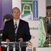 ERC Chief Executive Derek McGrath addresses the assembled audience prior to the Heineken Cup semi-final draw at Murrayfield