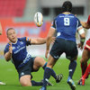South African prop Heinke van der Merwe pops the ball back to Isaac Boss, who has now played 52 times for Leinster