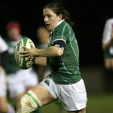 Helen Brosnan in action against England