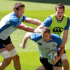 Forwards Nathan Hines, Jamie Heaslip and Devin Toner are pictured in action during the Captain's Run session