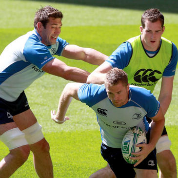 Leinster's Nathan Hines, Jamie Heaslip and Devin Toner