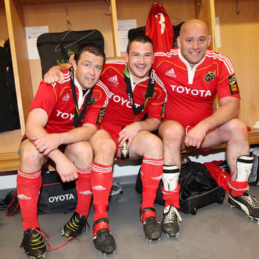 Munster front rowers Marcus Horan, Damien Varley and John Hayes