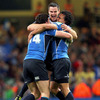 Three of Leinster's backs - Shane Horgan, Jonathan Sexton and Isa Nacewa - celebrate Leinster's memorable win at the home of Welsh rugby