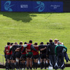The Ireland players huddle together on their second day of training at Mt Smart Stadium No. 2 ground in Auckland