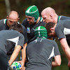 Conor Murray and the forwards, including pack leader Paul O'Connell, huddle together to talk tactics during the training session