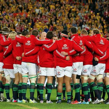 The Lions players huddle together at Suncorp Stadium