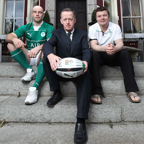 Hugh Hogan, AIB's Maurice Crowley and Brian O'Driscoll