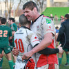 Ian Humphreys and stand-in skipper Johann Muller congratulate each other after Ulster's fourth straight win in Pool 4 of the Heineken Cup