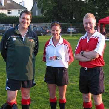 Budweiser Tag referees Killian Byrne, Aoife McCarthy and Chris Reynolds