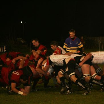 Scrum action from Saturday's clash at Shaw's Bridge