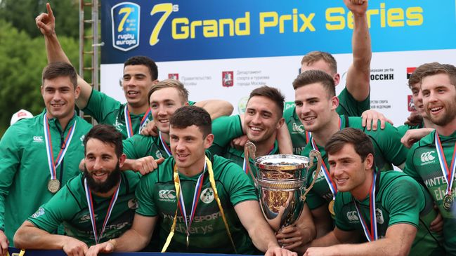 The Ireland players celebrate with the trophy in Moscow