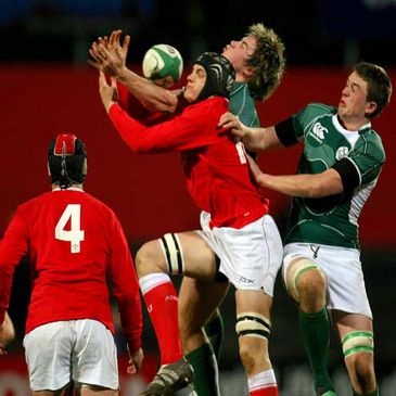 Wales' James King competes for a high ball against Ireland