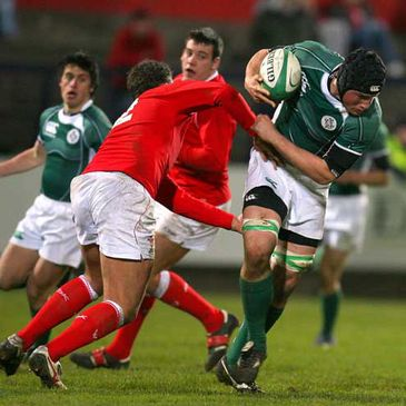 Second row Ben Marshall on the attack against Wales