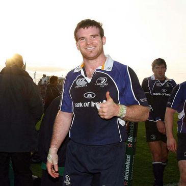 Leinster centre Gordon D'Arcy celebrating the win over Leicester Tigers