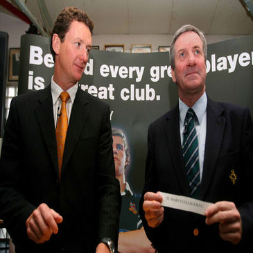 AIB's Tommy Lenahan and IRFU President Der Healy