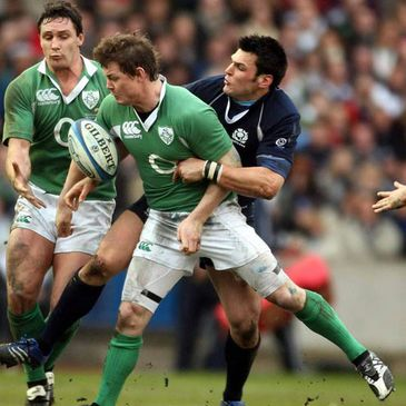 Ireland captain Brian O'Driscoll in action against Scotland