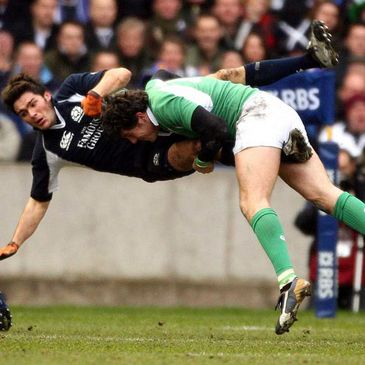 Shane Horgan produces a big tackle