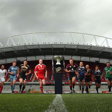 The captains and team representatives at Thomond Park Stadium