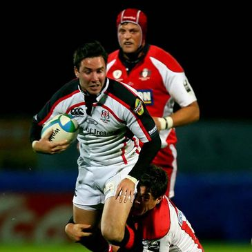 Ulster's Paddy Wallace is tackled by Anthony Allen of Gloucester