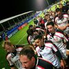 The Ulster players troop off the Ravenhill pitch after their disappointing Heineken Cup defeat to Gloucester