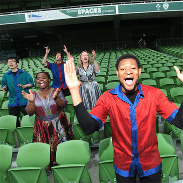 Members of the Discovery Gospel choir at the Aviva Stadium